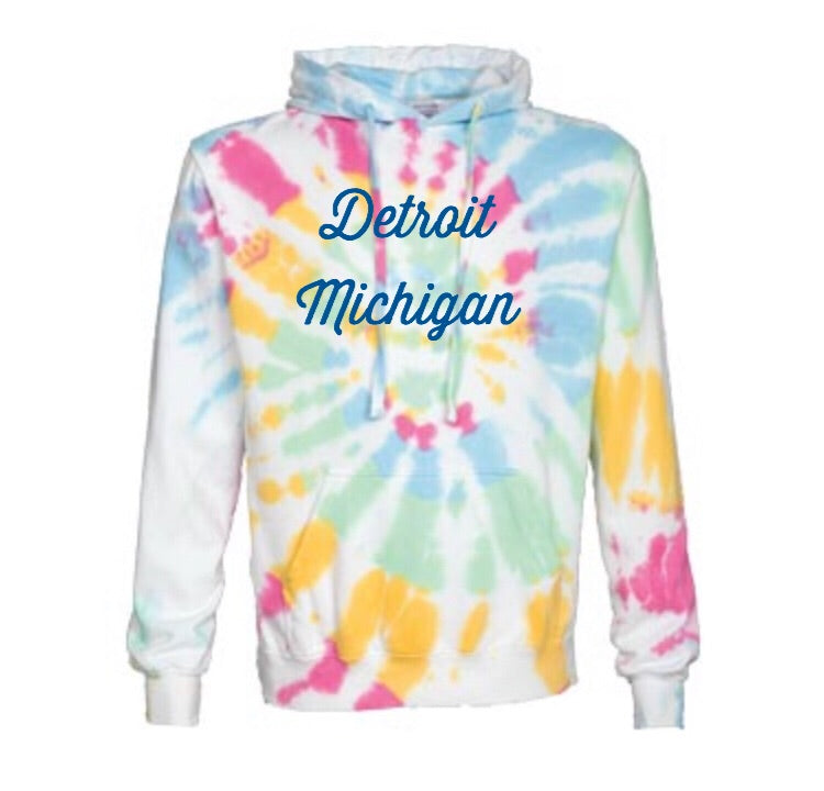 NEW Tie Dye Detroit Street Apparel hooded sweatshirt