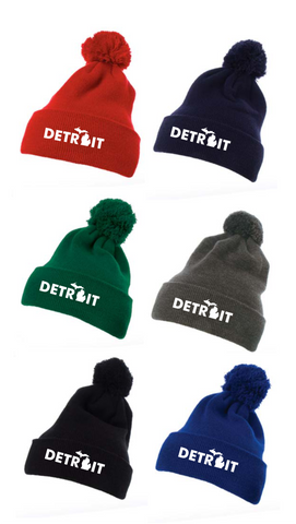 Detroit Cuffed Knit Beanie with Pom