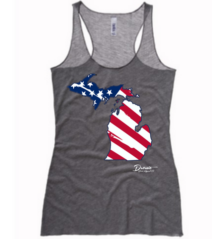 Detroit Street Apparel Michigan Flag Ladies Tank Top