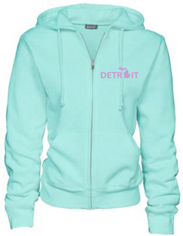 Detroit Street Apparel Ladies Detroit, MI Full Zip Up Hooded Sweatshirt
