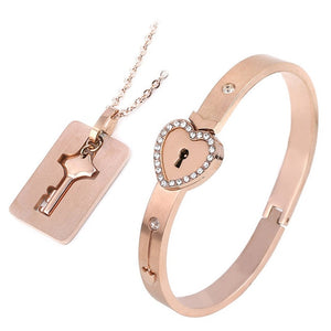 Love heart lock couple bracelet and necklaces