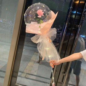 LED Luminous Balloon Rose Bouquet Transparent Bobo Ball Rose Valentines Day Gift