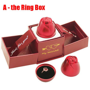 Fashion Rose Valentine's Day Gift Ring Boxes Jewelry Display Storage Case Box Velvet Lining Engagement Marriage Birthday Gifts