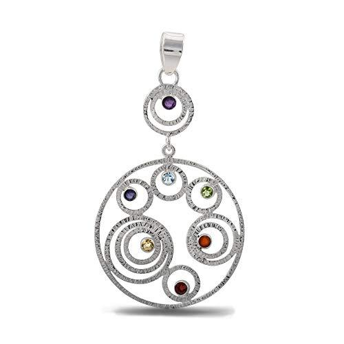 Wheel of Life Seven Chakra High Polish Sterling Silver Pendant