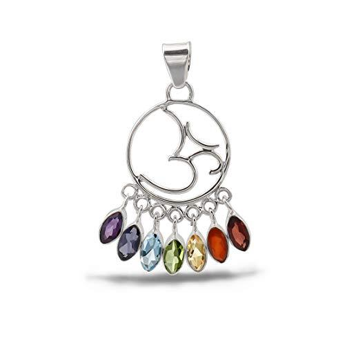 Chandelier Seven Chakra High Polish Sterling Silver Pendant