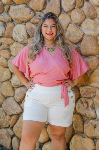 Blusa Transpassada Plus Size (ROSE)