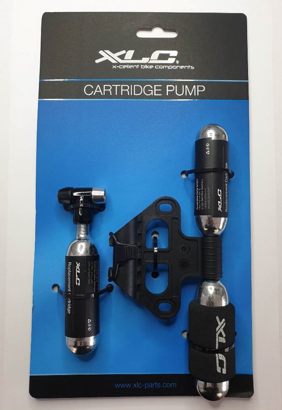 XLC Cartridge Pump with 2 Spare CO2 16g Cartridges Foam Grip and Bike Frame Mount