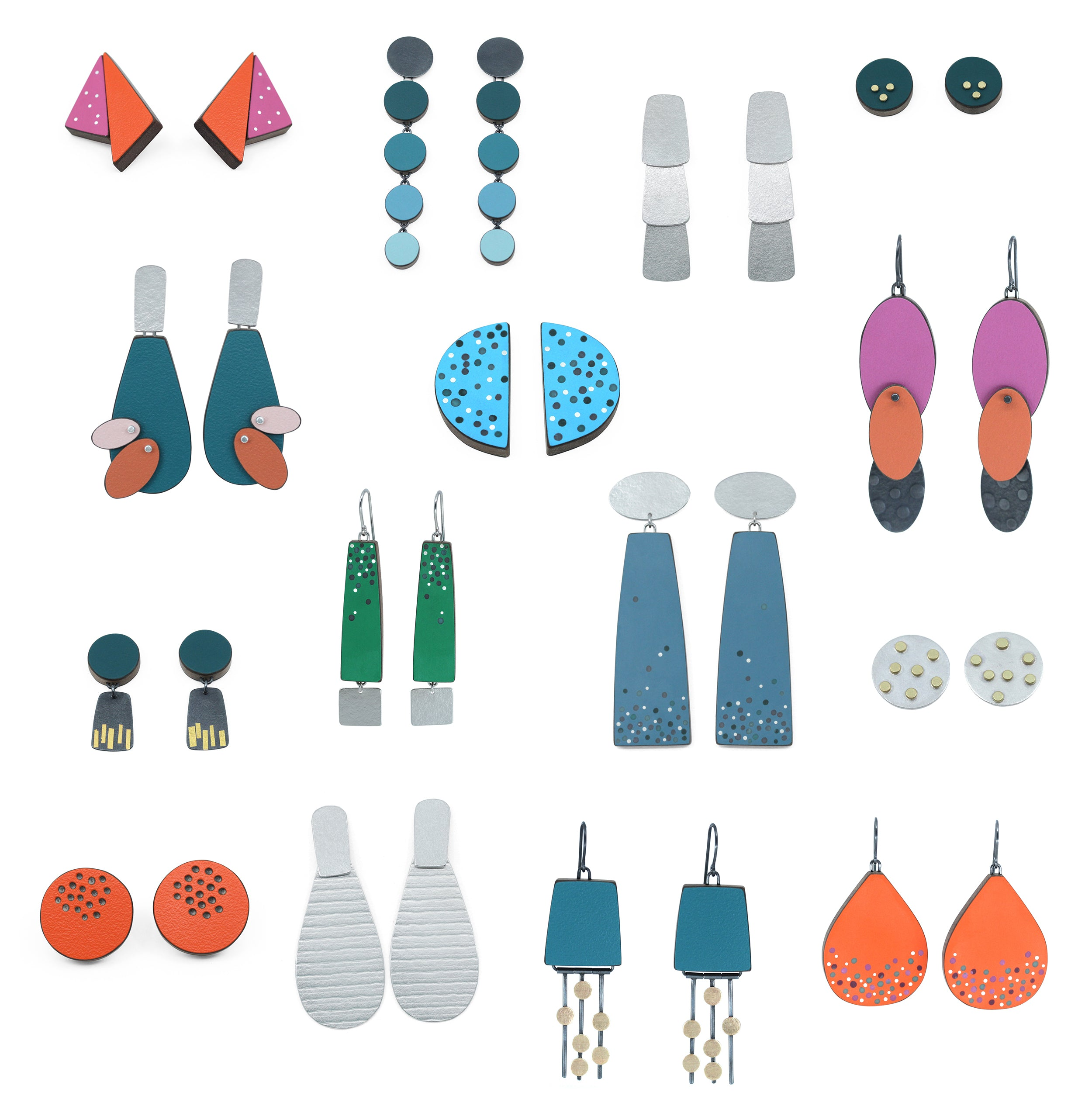 All fifteen pairs of earrings