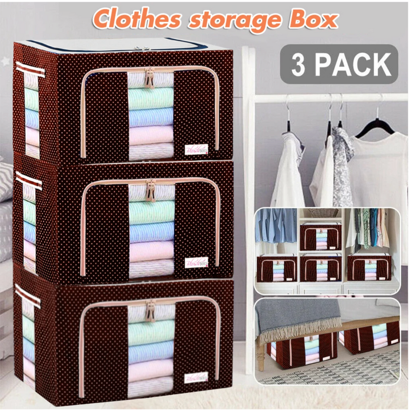 Fabric Storage Boxes For Clothes, Sarees, Bed Sheets, Blanket Etc.