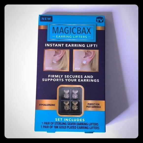 MAGIC BAX EARRING LIFTERS - 2 PAIRS OF ADJUSTABLE HYPOALLERGENIC EARRING LIFTS (1-GOLD-1SILVER)