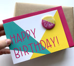 "Load image into Gallery viewer, Birthday Card with ""Birthday Girl"" badge"