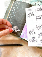 "Load image into Gallery viewer, HK 'I am' + 'God is"" sticker sheet 
