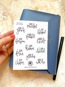 "HK 'I am' + 'God is"" sticker sheet 
