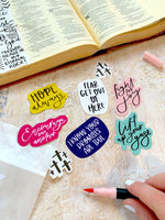 Load image into Gallery viewer, Faith filled die cut sticker pack | Bible journaling