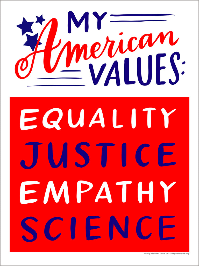 Downloadable American Values women's march sign