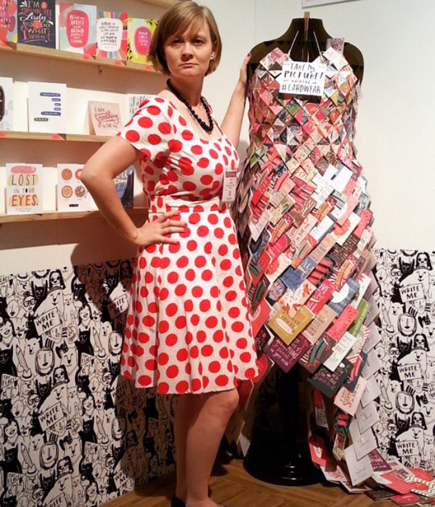 We invited buyers to photograph the dress in our booth and post them using #CARDWEAR.
