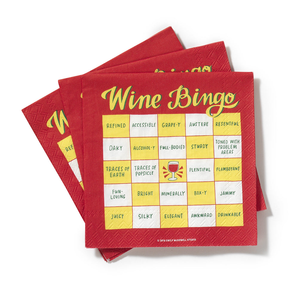 Wine Bingo Cocktail Napkins, Pack of 20