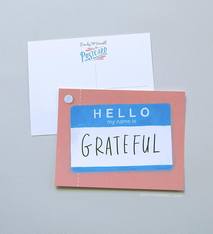 Hello My Name Is Grateful Postcard Set of 10
