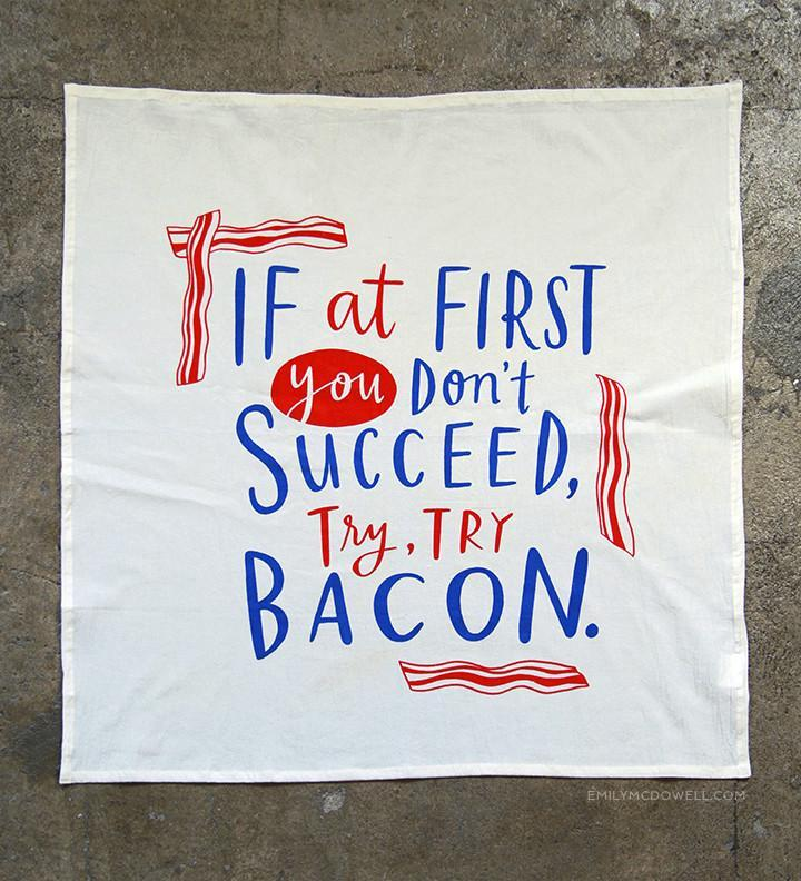 Try, Try Bacon Dish Towel