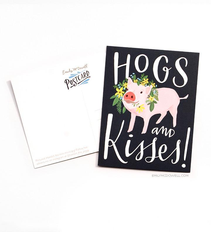 Hogs and Kisses Postcard Set of 10