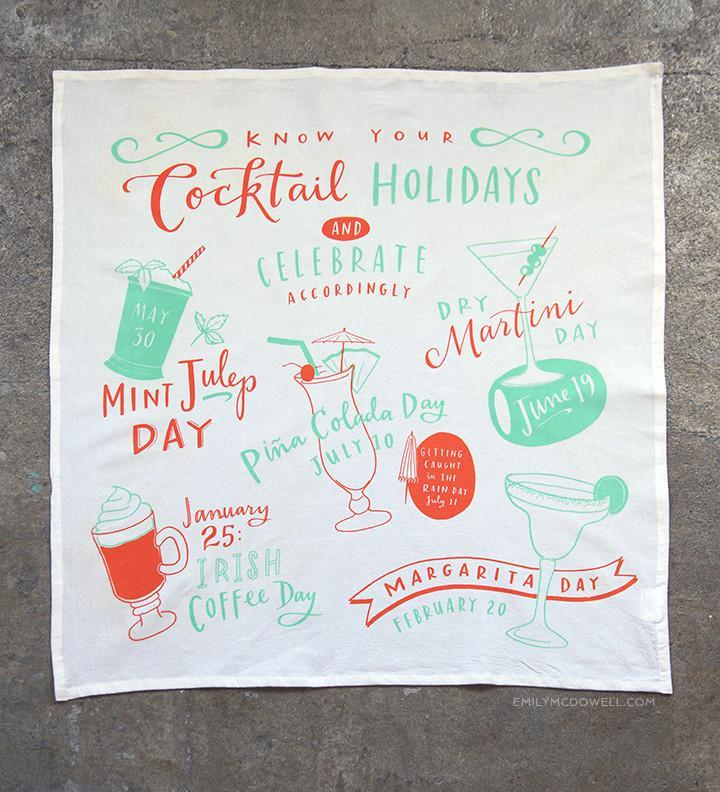 Cocktail Holidays Dish Towel
