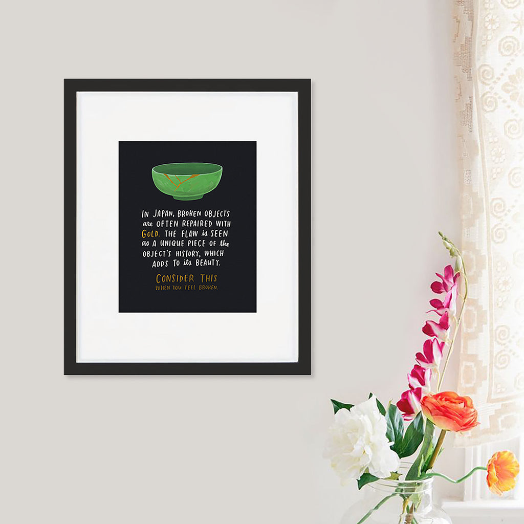 Broken Objects foil art print framed & on the wall