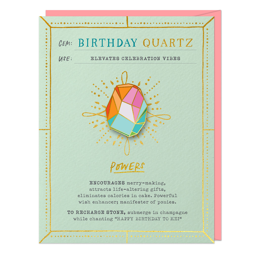 Emily McDowell & Friends Birthday Quartz Fantasy Stone Pin & Card