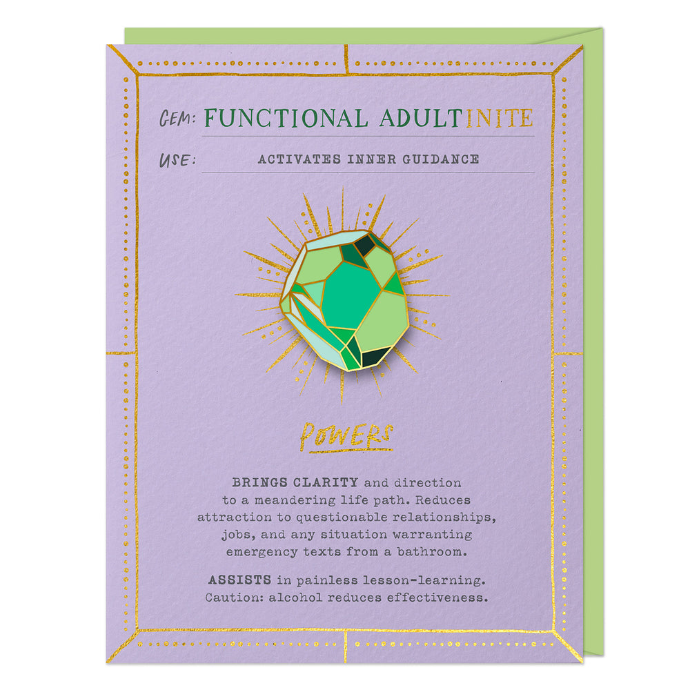 Functional Adultinite Fantasy Stone Pin & Card