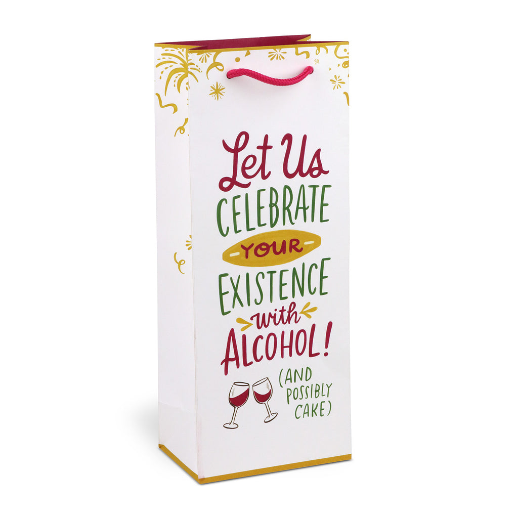 Celebrate with alcohol - white & gold wine gift bag