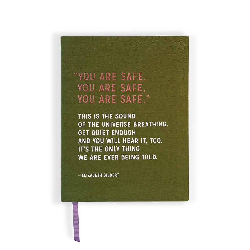 Front cover of cloth-covered You Are Safe Elizabeth Gilbert Journal with foil stamping.