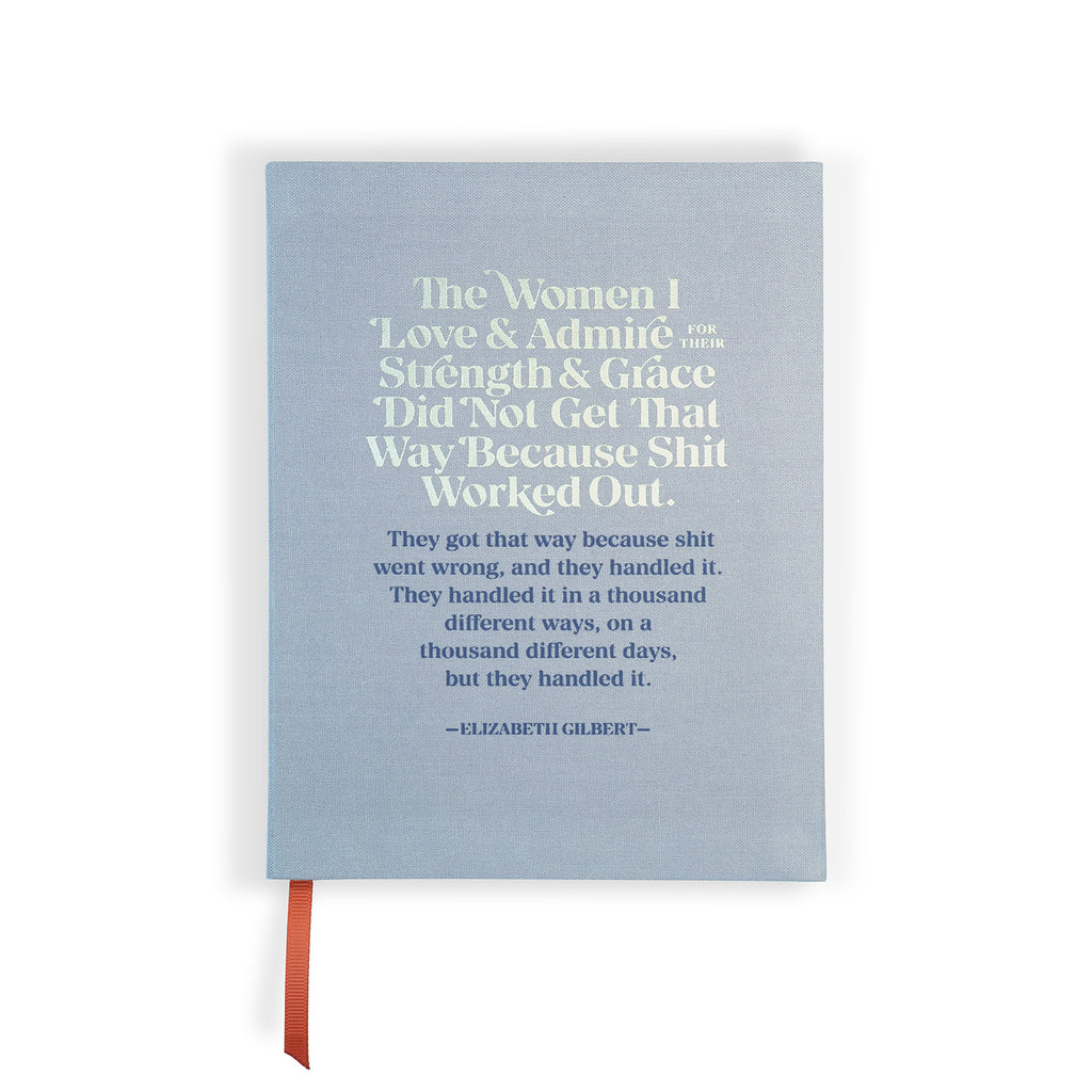Front cover of gray/blue Elizabeth Gilbert The Women I Love & Admire Journal with silver foil stamping