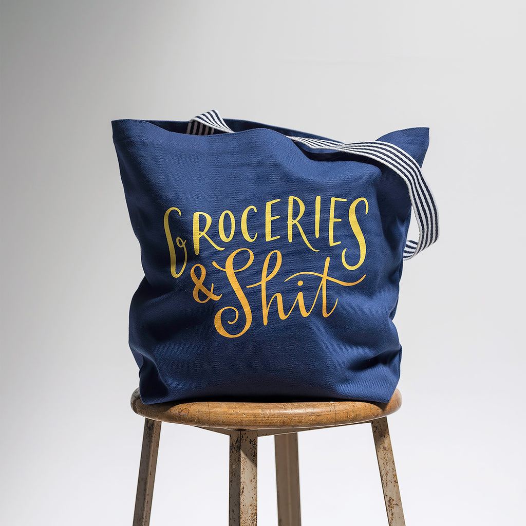 Groceries & Shit Tote Bag (Navy)