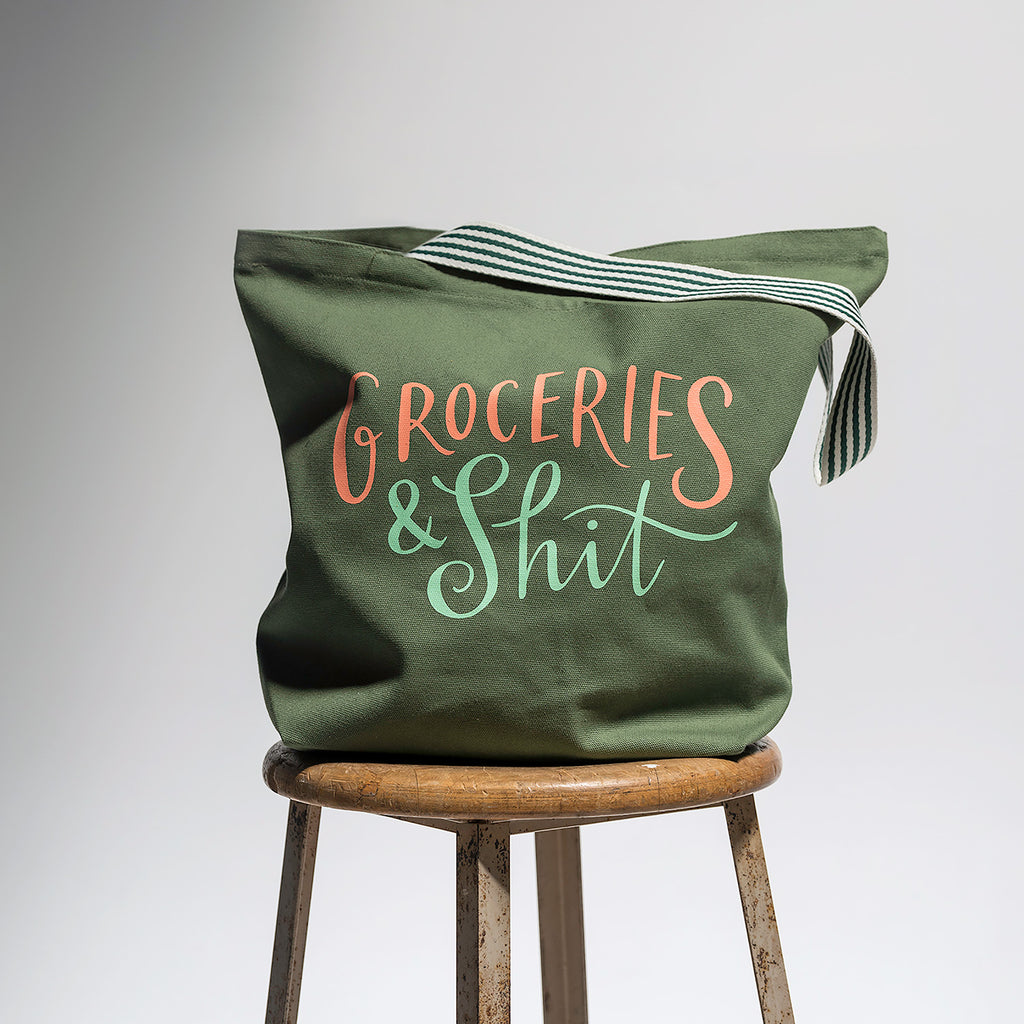 Groceries & Shit Tote Bag (Olive)