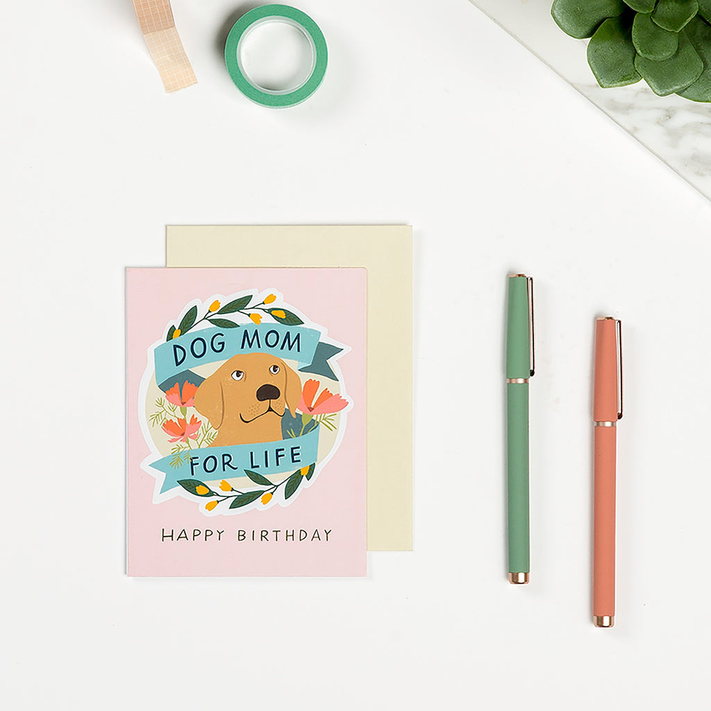 Dog Mom for Life Birthday Sticker Card