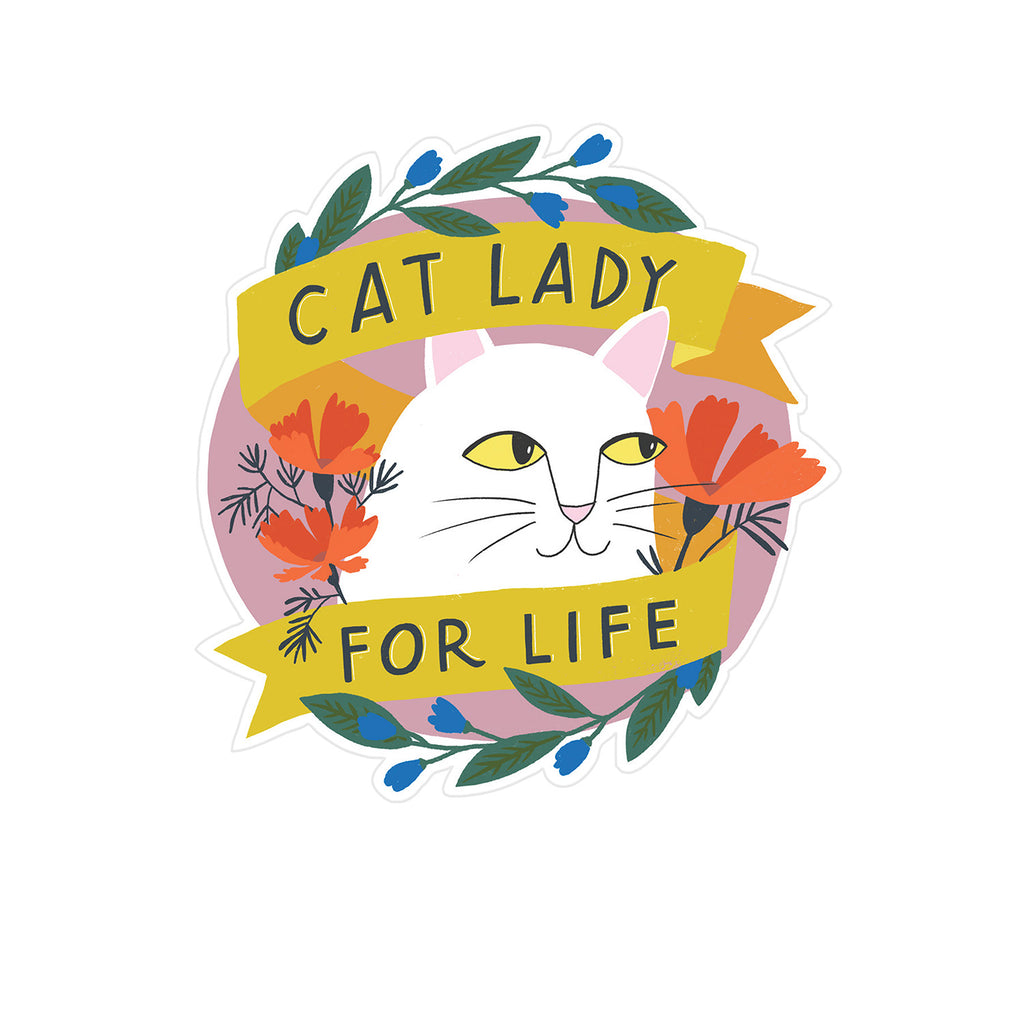 Cat Lady for Life Birthday Sticker Card