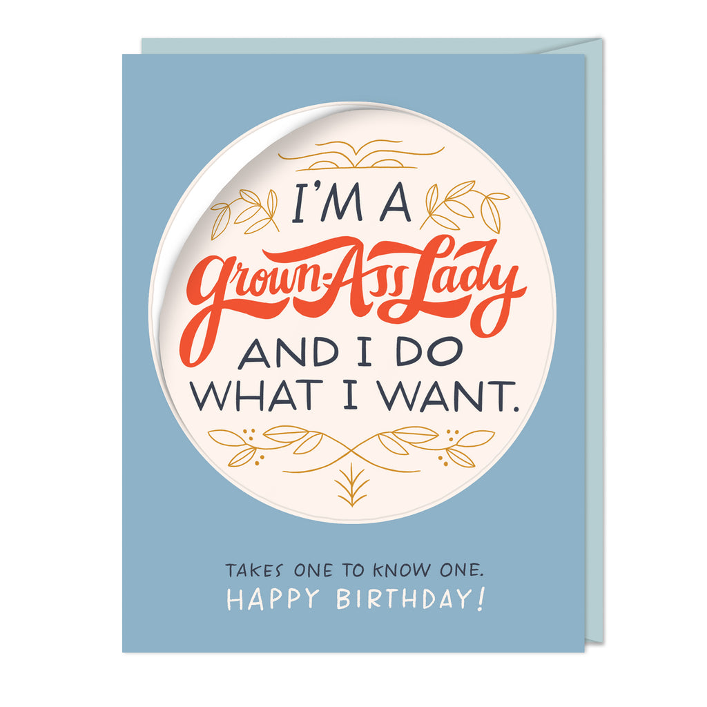 I'm a Grown-Ass Lady Birthday Sticker Card