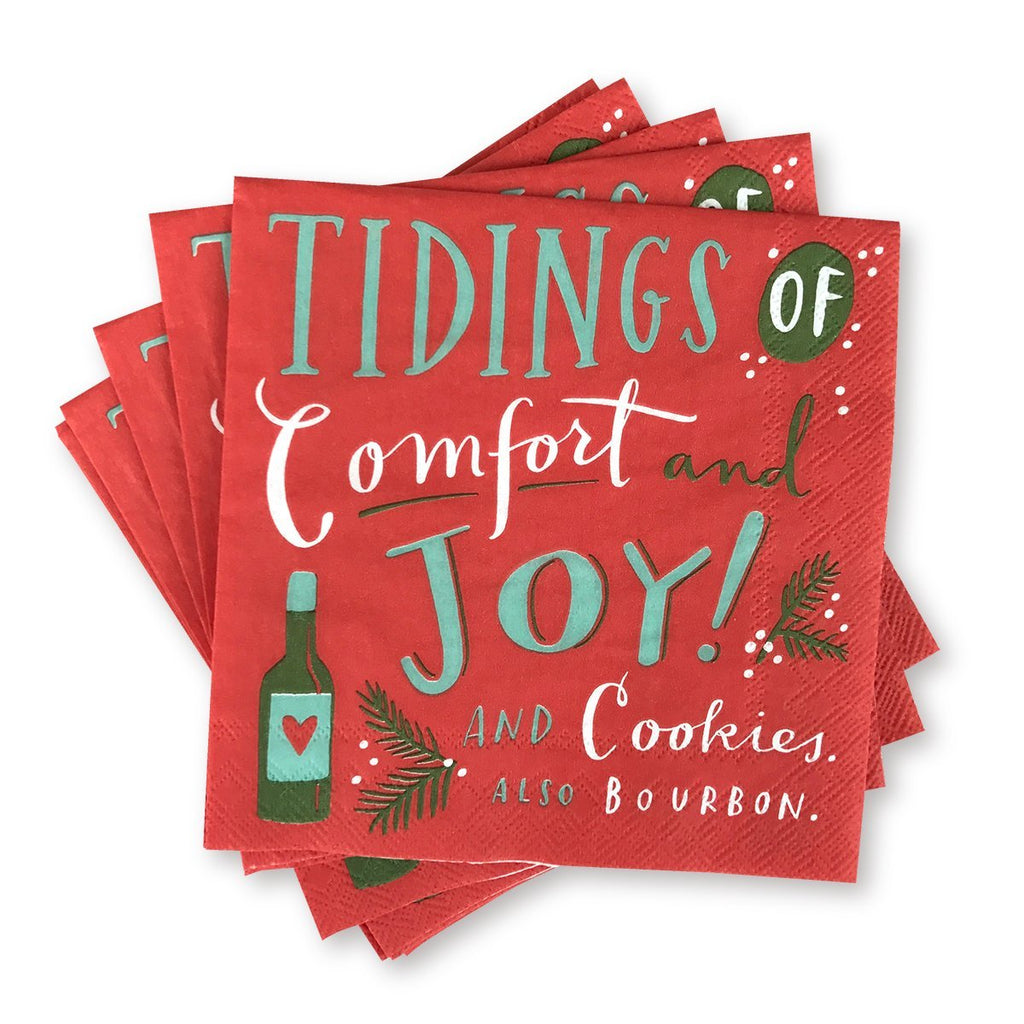 Holiday Cocktail Napkins - Tidings of Comfort & Joy & Cookies & Bourbon