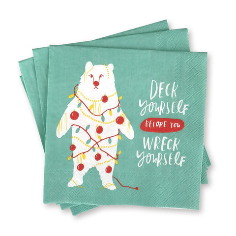 Holiday Cocktail Napkins - Deck Yourself Before You Wreck Yourself