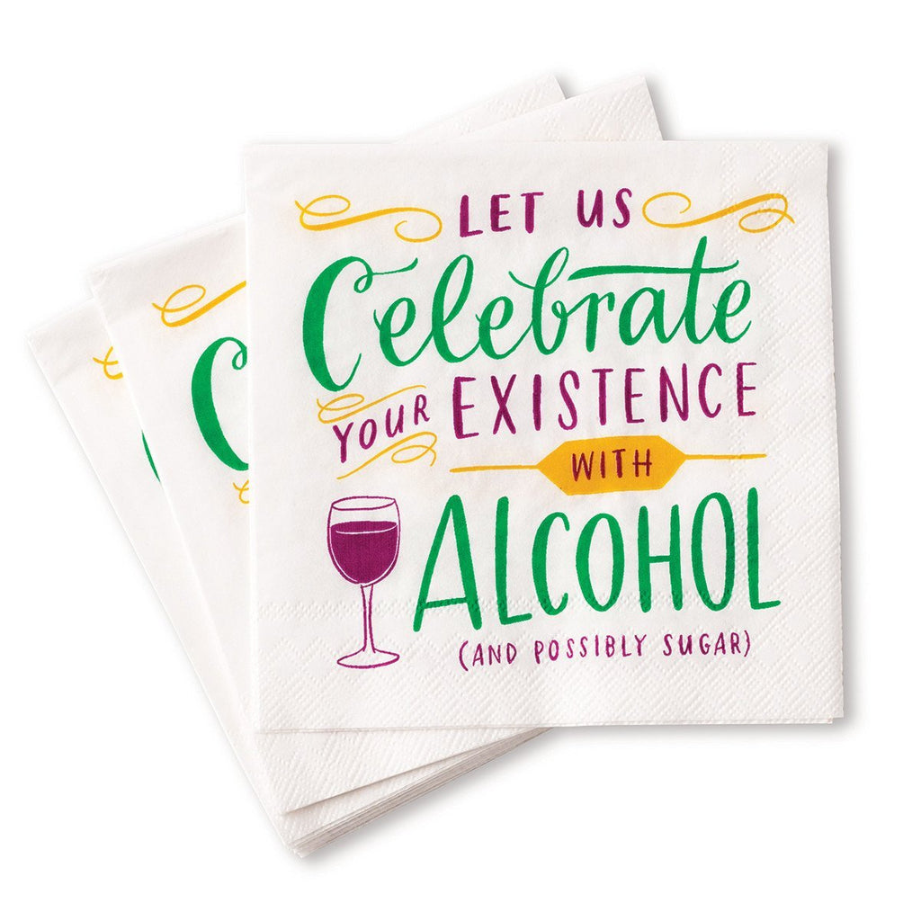 Cocktail Napkins - Celebrate Your Existence with Alcohol