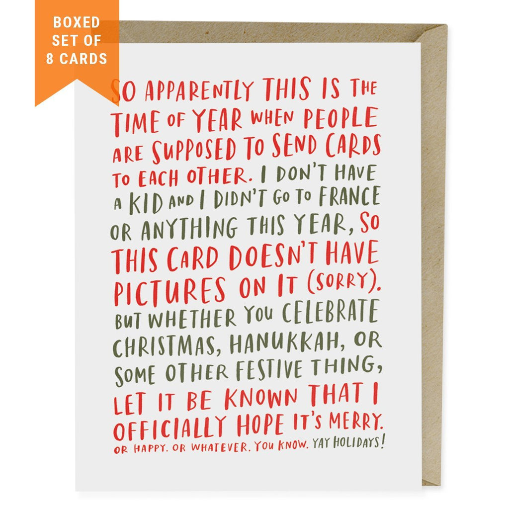 awkward holiday card box of 8 emily mcdowell studio - When To Send Christmas Cards