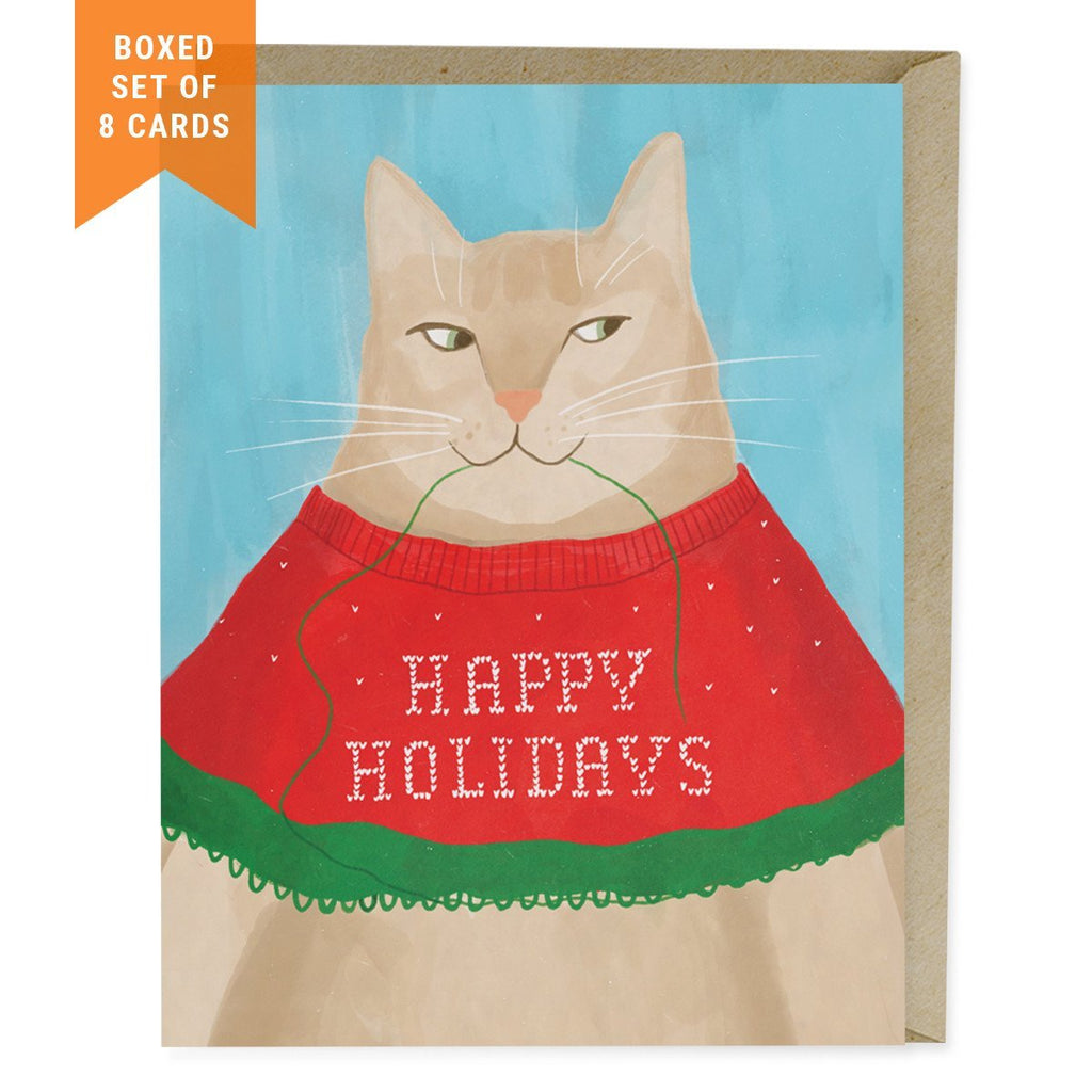 cat sweater holiday card box of 8 emily mcdowell studio - Pet Holiday Cards