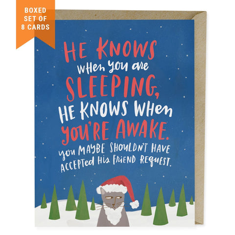 He Knows Holiday Card, Box of 8