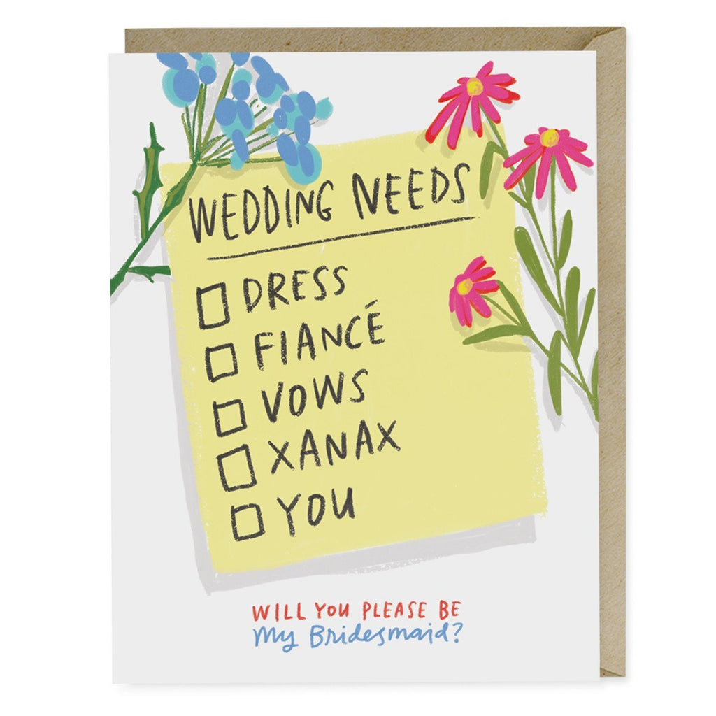Emily McDowell Wedding Needs Checklist Card