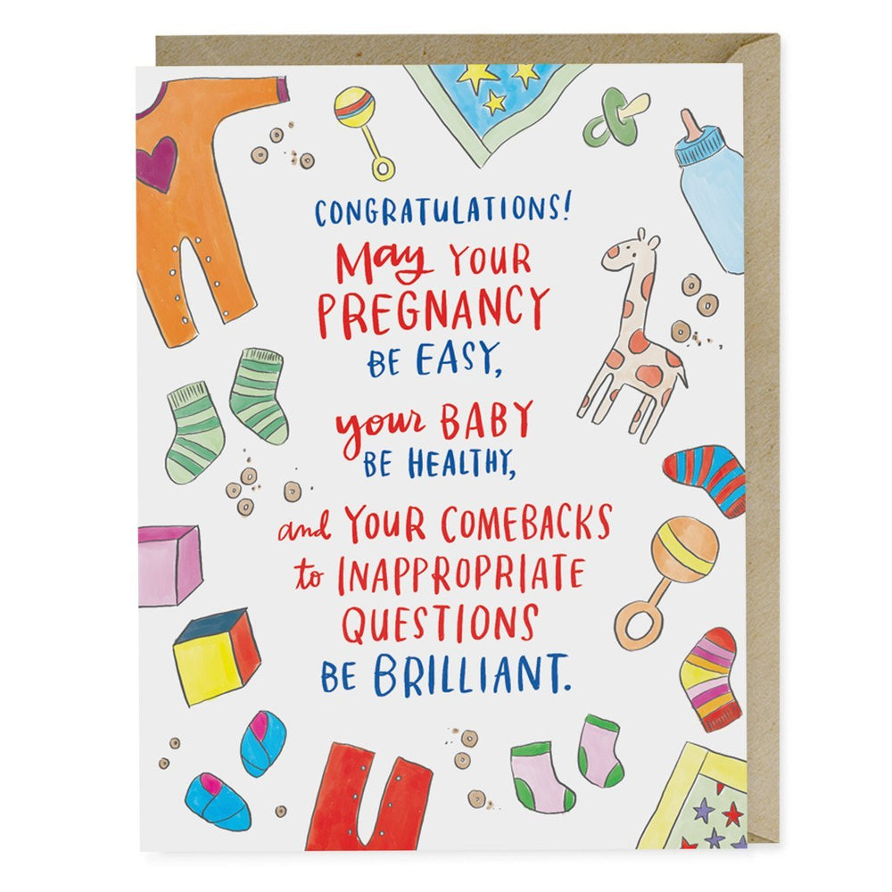 Emily McDowell Inappropriate Questions Baby Card