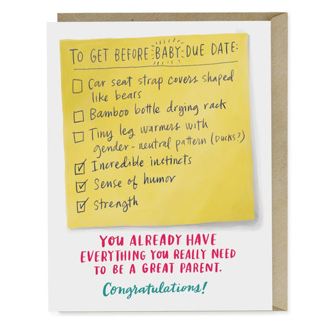 Emily McDowell Due Date Checklist Baby Card