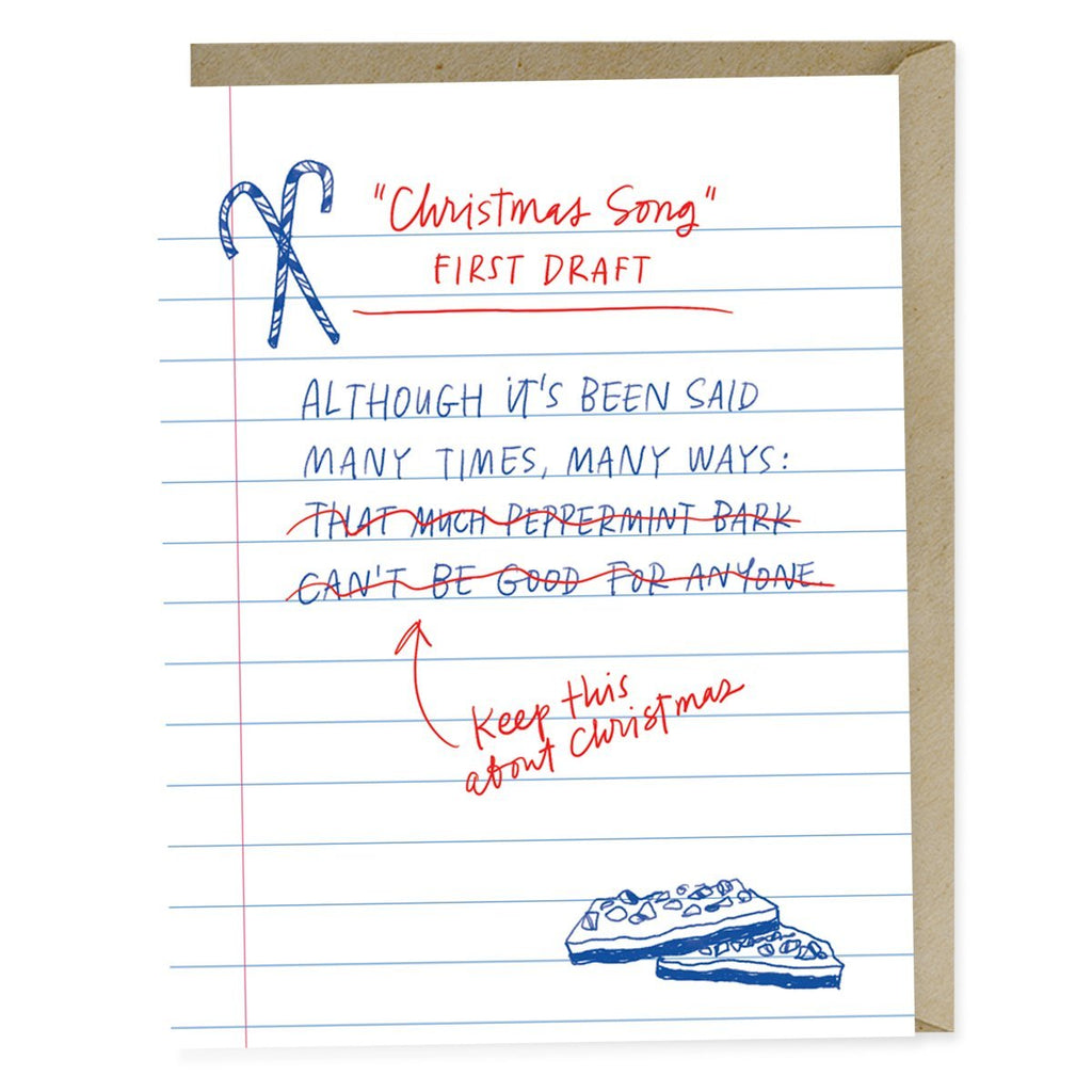 First Draft Lyrics Christmas Song Card
