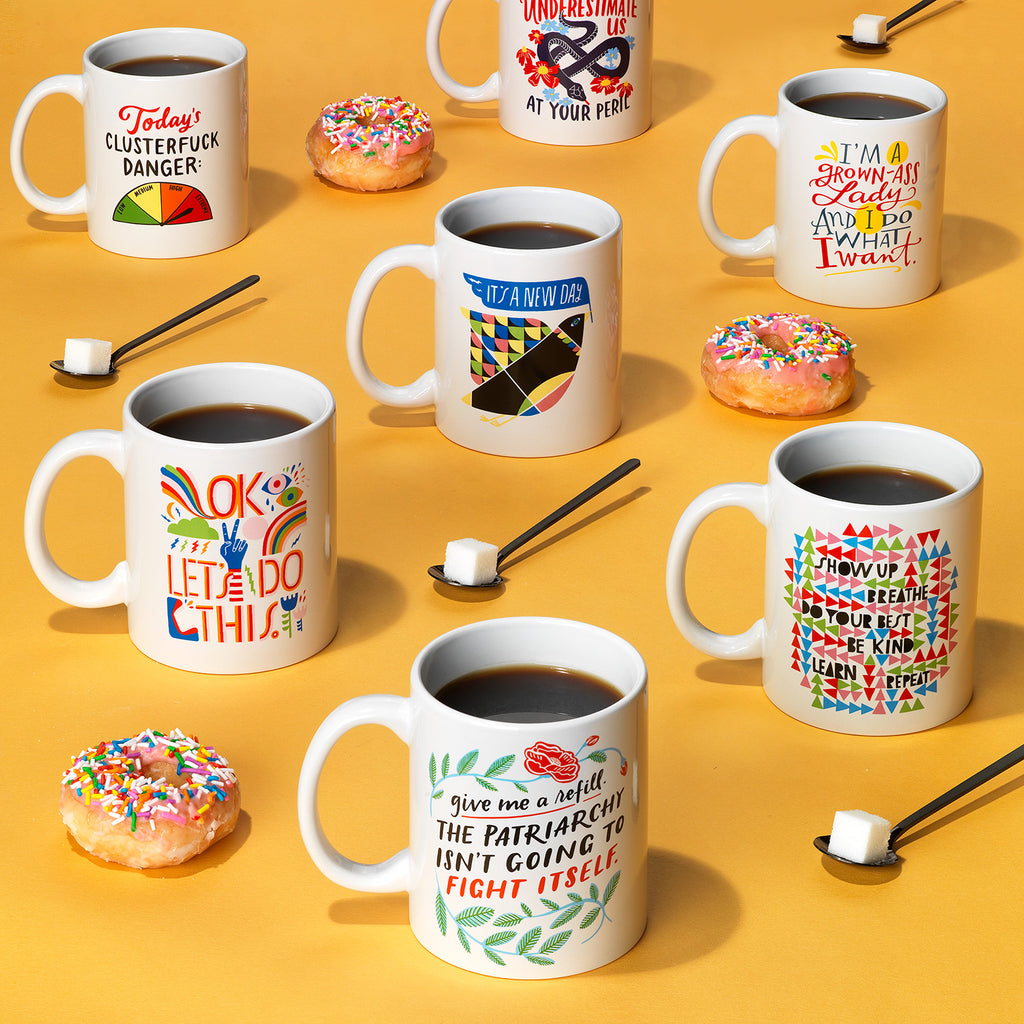 Emily McDowell & Friends coffee mugs with donuts
