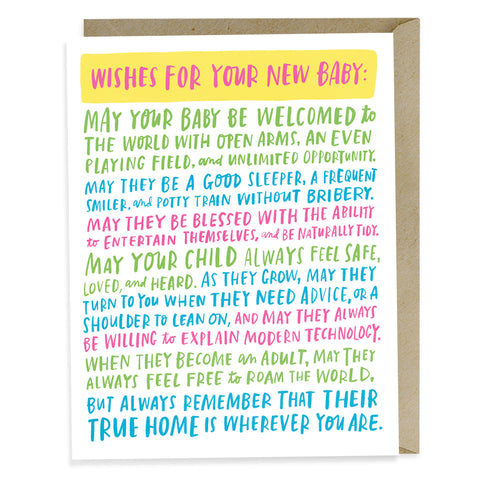 emily mcdowell wishes for your new baby card - Congratulations Cards