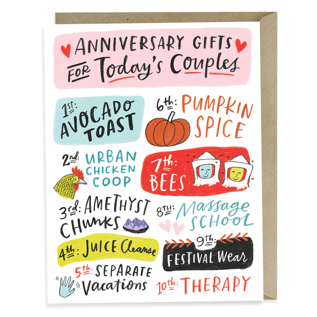 Today's Couples Card reads: Anniversary Gifts for Todays Couples . 1st: Avocado Toast, 2nd: Urban Chicken Coop, 3rd: Amethyst Chunks, 4th: Juice Cleanse, 5th: Separate Vacations, 6th: Pumpkin Spice, 7th: Bees, 8th: Massage School, 9th: Festival Wear, 10th: Therapy