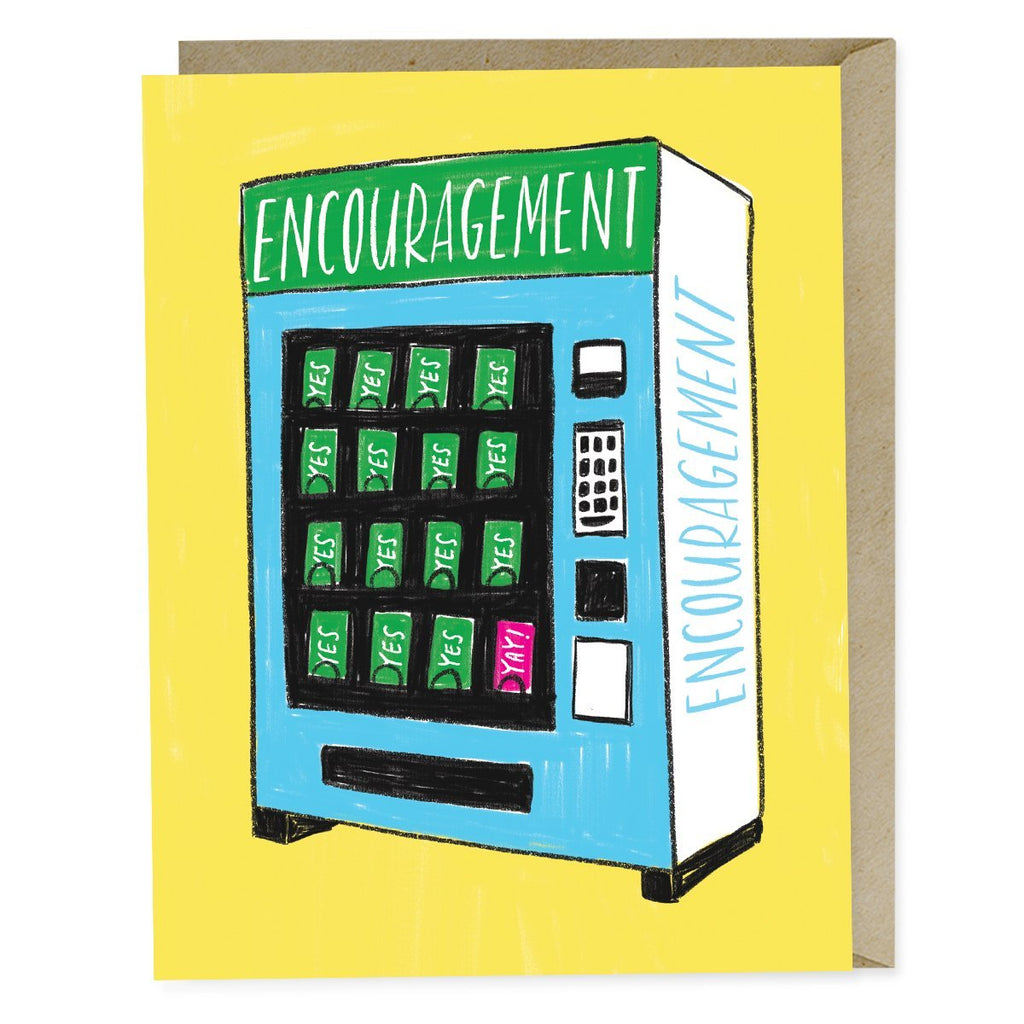Emily McDowell Encouragement Vending Card. Illustration of Vending Machine with Encouragement at top